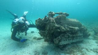 Двигатель истребителя времен Второй мировой войны. Фото Международного центра подводной археологии в Задаре