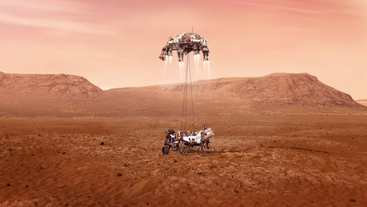 Посадка марсохода Perseverance на поверхность Марса. Иллюстрация NASA