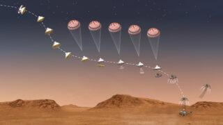 Процесс посадки Perseverance на Марс. Иллюстрация NASA