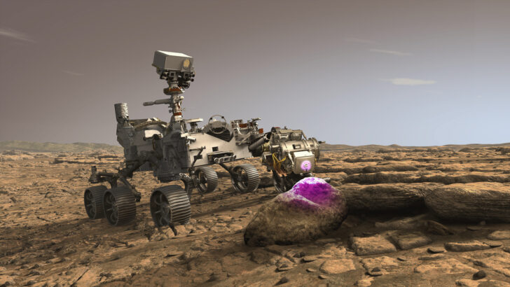 Марсоход Perseverance в процессе работы. Иллюстрация NASA