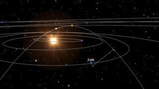 Схема орбиты, иллюстрирующая сближение 2001 FO32 с Землей в 2021 году. Иллюстрация ExoEditor (CC BY-SA 4.0)