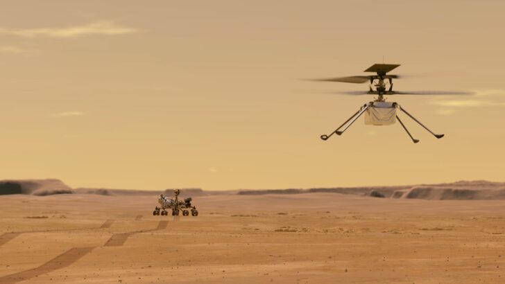 Ровер Perseverance и вертолет Ingenuity. Иллюстрация NASA/JPL-Caltech