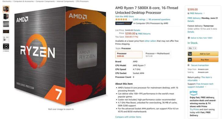 Восьмиядерный процессор AMD Ryzen 7 5800X
