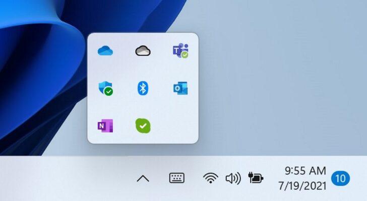 Всплывающее меню скрытых значков на панели задач обновленной ОС Windows 11. Изображение Microsoft